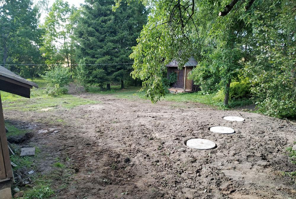 Nuotekų surinkimo talpos užkastos po žeme